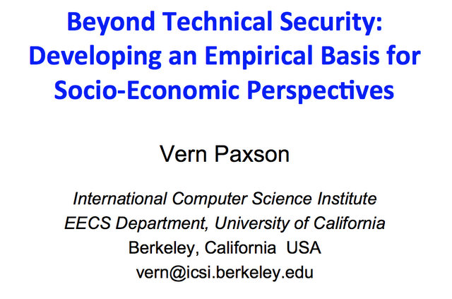 Beyond Technical Security title slide from Vern Paxson's talk